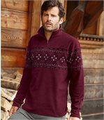 Fleece-Pullover mit Jacquard-Muster preview1