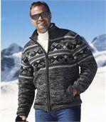 Blouson Homme Gris à Motifs Jacquard Tricot doublé Sherpa preview1