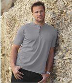 3er-Pack T-Shirts mit Henley-Kragen und Brusttasch preview5