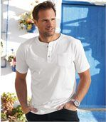 Pack of 3 Men's Button-Neck T-Shirts - Blue White Grey preview3