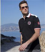 Men's Black Pacific Team Rugby Polo Shirt