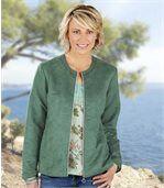 Letná semišová bunda vo farbe jadeitová zelená preview1