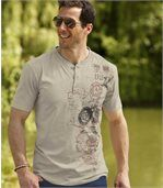 Men's Pack of 3 Button Neck T-Shirts - Beige Dark Grey Ochre preview3