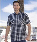 Men's Checked Navy Short Sleeve Shirt preview1