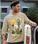 Men's Beige Indian Roots Printed Top