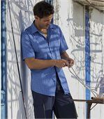 Men's Blue Checked Stretch Riviera Shirt preview2