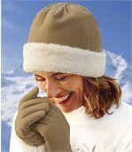 Women's Fleece Hat with Faux Fur Trim preview1