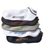 Pack of 5 Pairs of Men's Sporty Trainer Socks - White Navy Grey preview1