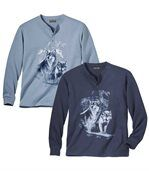 Lot de 2 Tee-Shirts Loups Col Tunisien