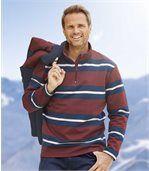 Men's Striped Zip-Neck Sweatshirt - Navy Burgundy