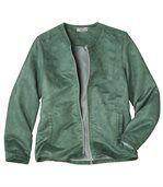 Letná semišová bunda vo farbe jadeitová zelená preview2