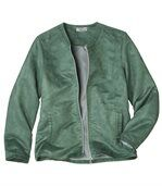 Women's Green Faux Suede Zip Up Jacket preview2