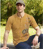 Men's Pack of 3 Button Neck T-Shirts - Beige Dark Grey Ochre preview4