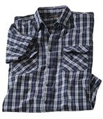 Men's Checked Navy Short Sleeve Shirt preview2
