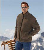 Men's Brown Sherpa Lined Fleece Jacket