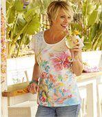 Tričko spotiskem exotických květů preview1