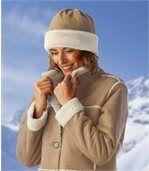 Women's Fleece Hat with Faux Fur Trim preview3