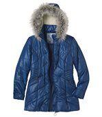 Prešívaná bunda s kapucňou a s umelou kožušinou