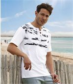 Men's White Lace-Up T-Shirt - Blue USA Flag Pattern preview1