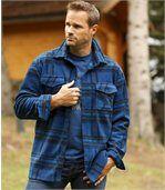 Overhemd van fleece met blauwe ruiten preview2