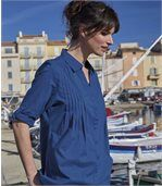 Women's Indigo Pleated Long-Line Blouse