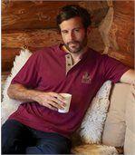 Pack of 3 Men's Button-Neck T-Shirts - Burgundy Blue Ecru