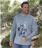Pack of 2 Men's Blue Long Sleeve Wolf Tops
