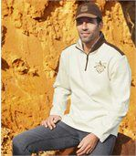 Men's Ecru Half Zip Jumper - Brushed Fleece preview1
