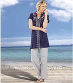 Splývavé nohavice  zo zmesového materiálu  bavlna/viskóza preview2