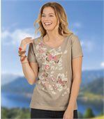 Women's Beige T-Shirt with Butterfly Motif preview1
