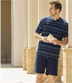 Men's Navy Ocean Striped Short Pyjama Set
