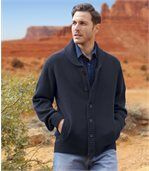 Men's Navy Knitted Jacket with Shawl Collar