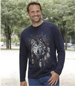 Men's Navy Long Sleeve Top with Wolf Print