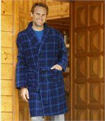 Men's Blue Fleece Checked Dressing Gown preview1