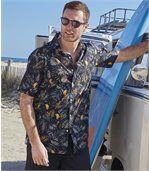 Men's Black Parrot Print Hawaiian Shirt preview1