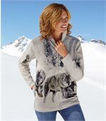 Women's Grey Fleece Jacket with Wolf Pattern preview1
