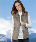 Women's Faux Suede And Faux Fur Gilet preview2