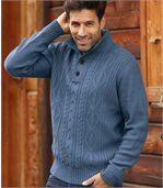 Sweter z warkoczami i kołnierzem z guzikami preview1