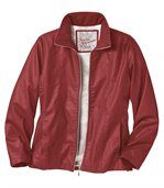 Women's Red Faux Leather Jacket preview2
