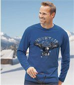Pack of 2 Men's Tops with Mountain And Eagle Print - Black Blue  preview2