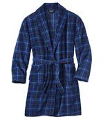 Men's Blue Fleece Checked Dressing Gown preview2