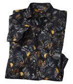 Men's Black Parrot Print Hawaiian Shirt preview2