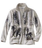 Women's Grey Fleece Jacket with Wolf Pattern preview2