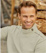 Pack of 2 Men's Polo-Neck Snowflake Tops - Beige Taupe