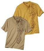 Pack of 2 Men's Maori Print T-Shirts - Ochre Beige