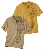 Pack of 2 Men's T-Shirts - Beige Ochre  preview1