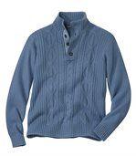 Pullover mit Zopfmuster und Knopfleiste preview2