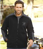Men's Black Fleece Jacket with Sherpa Lining