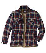 Men's Checked Fleece Shirt Jacket - Navy Beige Red
