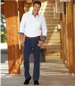 Modré strečové džínsy Regular preview2